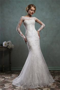 Elegant Mermaid Bateau Neck Long Sleeve Vintage Lace Wedding Dress With Buttons