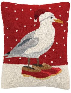 Adorable Holiday Seagull wool hooked pillow for your holiday decorated beach cottage home!