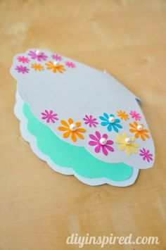 DIY Little Mermaid Clam Shell Card -- another cute card for a little girl's party invitation