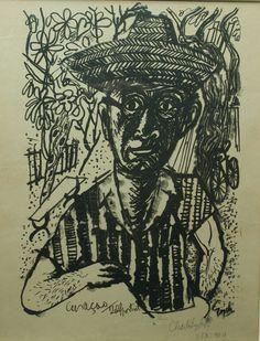 zelfportret Charles Eyck ( Meerssen 1897- Nuth 1983 )