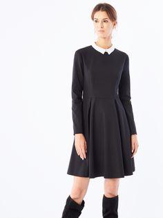 Sukienka z kołnierzem retro, Nowości, czarny, MOHITO