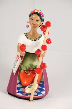 Lupita Ceramic Figurine Pottery Collectible Original Authentic Premium Hand Painted Decorative Home Decor Tonala Mexico Mexican Folk Art Doll Najaco Mexican Crafts, Mexican Folk Art, Dengeki Daisy, Art Deco Posters, Pokemon Cosplay, Candy Apples, Crafty Craft, Whimsical Art, Manga Art