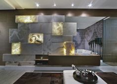 Back Lit white Onyx - eclectic - living room - miami - Marble of the World Interior Walls, Luxury Interior, Black Room Design, Linden Homes, Living Room Tv Unit, Living Area, Living Rooms, Stone Tile Flooring, Indian Interiors