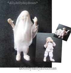 Miniature Handmade poseable MINi GHOST BOY Ooak Dollhouse doll 1/12th scale