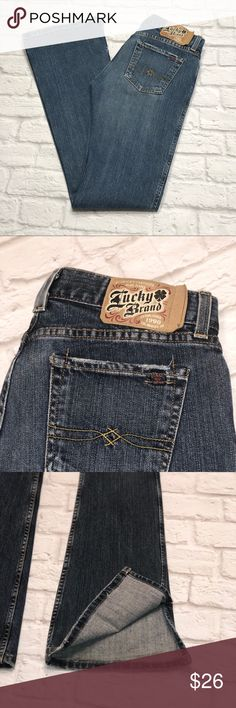 Lucky Brand Jeans Super Cute Bootcut Lucky Brand Jeans Dungarees Craze Jeans Really Cool Extra Bootcut Slit on Pant Legs Factory Made Weathering on Pockets Great Condition with Some Wear on Bottom (It actually kind of matches the weathering on Pockets.) MADE IN USA Cotton/ Lycra 32 Inch Inseam Lucky Brand Jeans Boot Cut