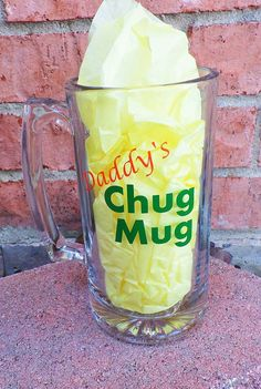 Daddy's Chug Mug, Custom Glass Beer Mug, Beer Drinker, Father's Day Gift, For Him, For Dad, Beer Birthday Gift, Gift for New Dad