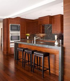 Porch   Cherry Wood Kitchen from Susan Marrinello Interiors Inc Contemporary Cabinets, Interior Styling, House Inspiration, Kitchen Remodel, Kitchen Built Ins, House Designs Exterior, Beautiful Kitchens, Cherry Wood Kitchens, Home Design Plans