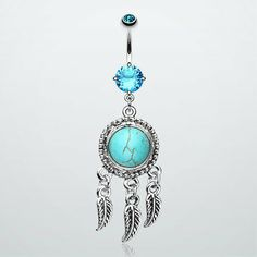 Turquoise Dream Catcher Belly Button Ring on Wanelo