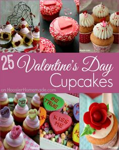 25 Cupcakes for Valentine's Day for you including Pretty in Pink, some for the kids, the chocolate lover and some cute printable Valentine's Day Cupcake Toppers too! Pin to your Valentine's Day Board! (valentins day cupcakes for kids) Valentine Day Cupcakes, Valentines Day Treats, Holiday Treats, Holiday Recipes, School Cupcakes, Valentines Recipes, Valentine Party, Homemade Valentines, Valentine Gifts