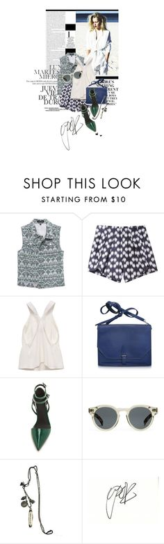 """""""It's All About Eve"""" by ashley-rebecca ❤ liked on Polyvore featuring Nicki Minaj, Zero + Maria Cornejo, 3.1 Phillip Lim, Alexander Wang, Illesteva, strappy sandals, crossbody bags, denim vests, whitney port and printed vest"""