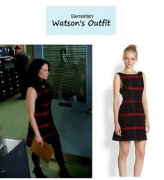 """On the blog: Joan Watson's (Lucy Liu) red plaid shift dress with leather trim 
