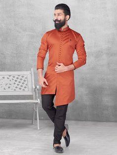 Shop Silk orange color solid kurta suit online from India. Mens Indian Wear, Indian Groom Wear, Indian Men Fashion, Mens Fashion Suits, Men's Fashion, African Fashion, Gents Kurta Design, Boys Kurta Design, Kurta Pajama Men