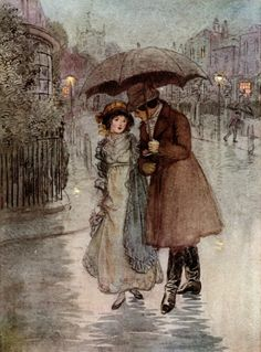 """It was raining, and my face was wet."" Color process illustration by Hugh Thomson, for the book, Quality Street, published in Art And Illustration, Ink Illustrations, Umbrella Art, Under My Umbrella, Walking In The Rain, Singing In The Rain, Jm Barrie, Quality Street, Parasols"