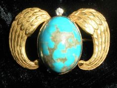 SUPERB ANT. VICT. TURQUOISE, 14K GOLD EGYPTIAN REVIVAL WINGED SCARAB PIN PENDANT