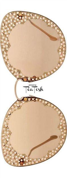 Téa Tosh Salvatore Ferragamo, Fiore Rimless Cat-Eye Sunglasses w/ Crystal Embellishment