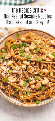 Thai Peanut Sesame Noodles is an asian favorite that combines creamy peanut butter, soy sauce, sesame oil, minced garlic all mixed with linguine noodles tossed in this amazingly sweet and savory sauce. Peanut Butter Noodles Recipe, Sesame Peanut Noodles, Peanut Sauce Noodles, Cold Sesame Noodles, Seasame Noodles, Peanut Rice Recipe, Asian Noodles, Healthy Noodle Recipes, Vegetarian