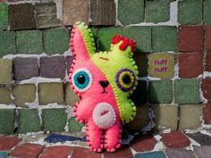 Felt Zombie Bunny Evolution Pocket Plush toy by nuffnufftoys on Etsy