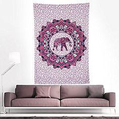 Finether indischer Wandteppich Wandbehang Mandala Elefant Tuch Wandtuch Gobelin Tapestry Goa Indien Hippie-/ Boho Stil als Dekotuch /Tagesdecke indisch orientalisch psychedelic bunt 215 x 150 cm FT-194