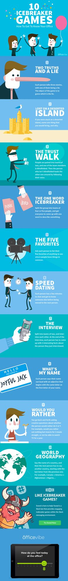 10 Icebreaker Office Games Infographic - http://elearninginfographics.com/10-icebreaker-office-games-infographic/