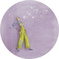"""Gaëlle Boissonnard carte postale ronde (13,8cm) """"Bulles de savon"""""""