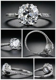 Alternate view: 2.90 carat antique cushion-cut diamond engagement ring, circa 1915. Via Diamonds in the Library. #DazzlingDiamondEngagementRings