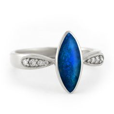 """""""Moonlit Sea - Enigma"""" Unique Engagement Ring with Opal and Diamond 