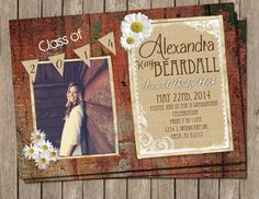 Shabby Chic, Graduation, Announcement, Red, Rustic,Wood, Daisy, Digital file, Printable on Etsy, $15.00