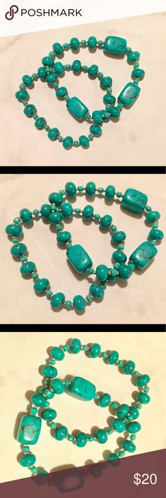 Turquoise beaded bracelet set Real turquoise round and oblong rectangle beads shaped turquoise beads with silver spacer beads throughout on a stretch cord. Set of 2. Brand new and so colorful and pretty! Goes with literally EVERYTHING! Jewelry Bracelets