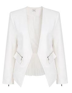#SALE White Zipper Contrast Pleated Hem Crop Blazer Shop the #SALE at #Sheinside