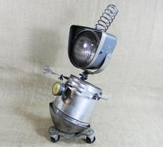 Robot Sculpture  MORTY  found object assemblage  by reclaim2fame, $225.00
