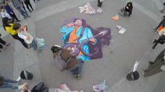 """Prince"" Sand Painting in Tribute at Washington Square Park by Joe Mangrum"