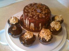 Peanut Butter Cup Cake! Chocolate Cake, with peanut butter cup filling and a peanut butter frosting and chocolate ganache.