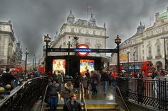 Piccadilly Circus - Tube entrance. The steps & rails are useful for drawing the eye into a picture.