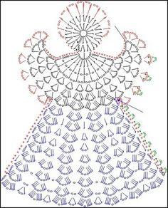 Tricô e Crochê - Knitting and Crochet: Enfeite de Natal em Crochet - Anjo Natalino Crochet Angel Pattern, Crochet Angels, Crochet Motifs, Crochet Diagram, Thread Crochet, Filet Crochet, Crochet Crafts, Crochet Projects, Knit Crochet