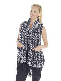 Rectangular Knitted Rabbit/Wool Scarf