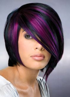 Hair and Tattoos: Purple highlights for short hair