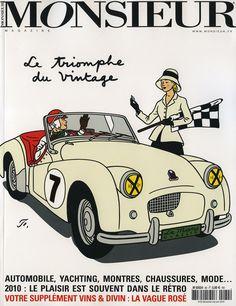 """Pour la couverture du numéro 82 du magazine Monsieur, Floc'h illustre le titre """"le triomphe du vintage""""."""