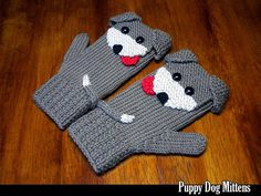 Puppy Dog Mittens for the Family Knitting Pattern - Knitting patterns, knitting designs, knitting for beginners. Baby Winter Mittens, Crochet Baby Mittens, Knitted Mittens Pattern, Crochet Gloves, Knit Mittens, Crochet Slippers, Knitting Socks, Fingerless Mittens, Knitting Machine
