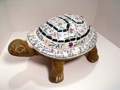 Mosaic Turtle for Garden or Home Pastel Floral by pinetreemosaics