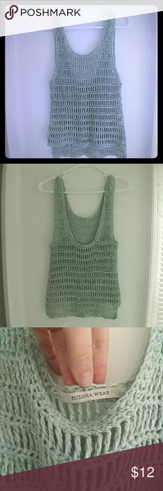 Budda Wear Crochet Top Blue/green and white 100%cotton crochet top. Awesome for beach wear! Super soft. Good condition. No size tag but I would suggest a Small.15 inches across the chest and 24 inches long. The front does come up about 2 inches shorter then the back. Love offers! Budda Wear Tops Tank Tops