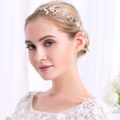 Elegant Luxurious Gold & Silver Plated Stretchable Crystal Pearl Headband Bridal Hair Accessories Wedding Hairband