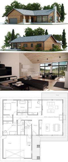 Casa pequeña elegante 3D 2B PLANO