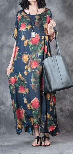 new blue print casual silk dresses large hem sundress short sleeve maxi dress