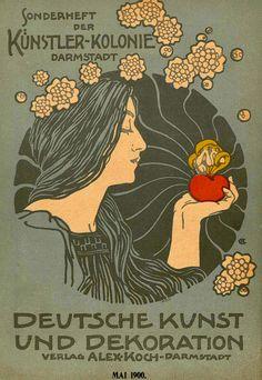 Various cover illustrations by Hans Christiansen for 'Deutsche Kunst und Dekoration' magazine, 1899 - 1900.