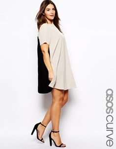 INSPIRATION for a tunic top...nice idea with leggings !!  ASOS CURVE Shift Dress With Pleated Back