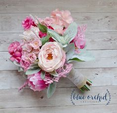 Pink and Cream Rustic Wedding Bouquet, Pink Wedding Bouquet, Peony Bouquet, Boho Bouquet by blueorchidcreations on Etsy