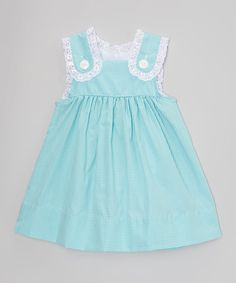 Look at this Smock Candy Green Gingham Lace Button Dress - Infant, Toddler & Girls on #zulily today!
