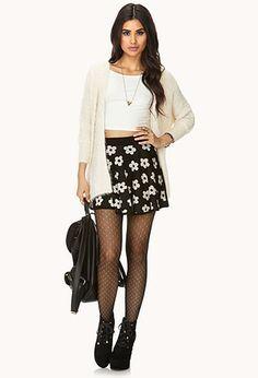Retro Daisy Skater Skirt | FOREVER 21 - 2000065850