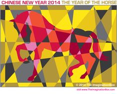Chinese New Year 'Year of the Horse' modern art / abstract / hidden colouring activity, free to download