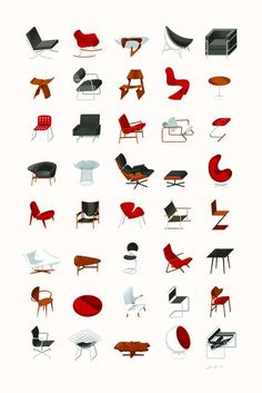 """Mid-Century Modern Collection (Neutral)"" by Textbook Example, Toronto // An illustrated collection of icon mid-century modern furniture, including Eames, Bertoia, Le Corbusier, van der Rohe, Noguchi & many more. // Imagekind.com -- Buy stunning, museum-quality fine art prints, framed prints, and canvas prints directly from independent working artists and photographers."